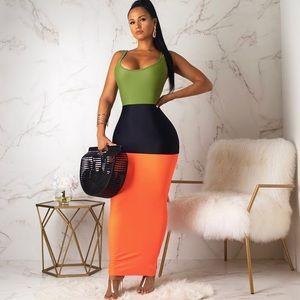 Dresses & Skirts - Color Blocked Sleeveless Orange Black Maxi Dress
